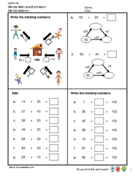 G2S2W1-MW Mental Math and Estimation Addition (Singapore Mastery Method)