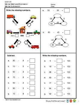 G2S2W2-MW Mental Math & Estimation Subtraction Estimation (Singapore Mastery Met