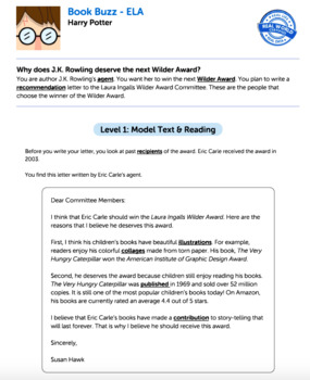 Bundle G3 Opinion Reading & Writing - Book Buzz Performance Task