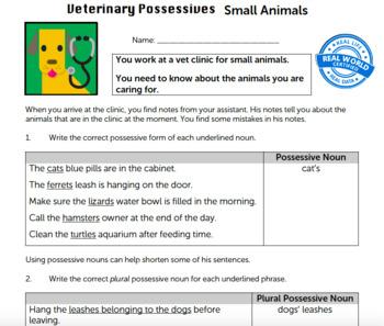 G3 Possessive Nouns/Pronouns - 'Veterinary Possessives' Essential: Small Animals