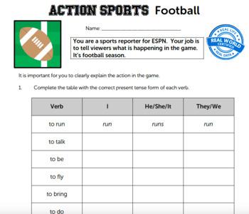 G3 Regular & Irregular Verbs - 'Action Sports' Essential: Football