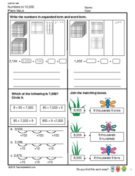 G3S1W1-MW Numbers to 10,000 Counting and Place Value (Singapore Math)