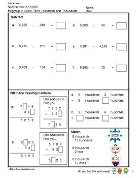 G3S1W7-MW1 Subtract to 10,000 Regroup in 1s, 10s, 100s, 1000s (S'pore Mastery)