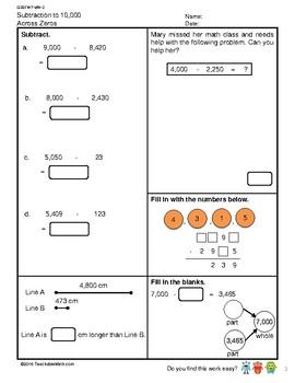G3S1W7-MW2 Subtraction to 10,000 Across Zeros (Singapore Mastery Method)