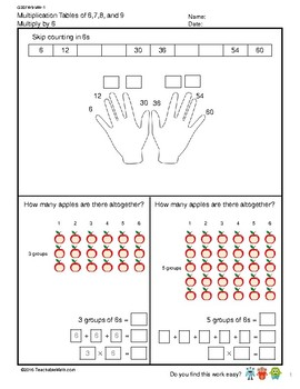 G3S1W9-MW1 Multiplication Tables of 6 (Singapore Mastery Method)