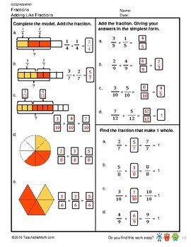 G3S2W8-MW1 Adding like Fractions (Sum Less Than 1) (Singapore Mastery Method)