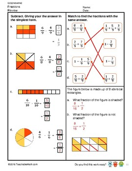 G3S2W8-MW2 Subtracting like Fractions (Sum < 1) (Singapore Mastery Method)