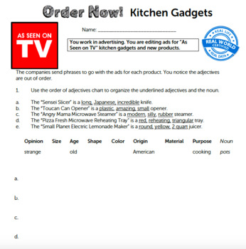 G4 Ordering Adjectives - 'Order Now!' Essential: Kitchen Gadgets