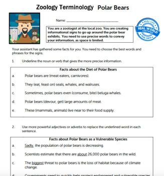 G4 Precise Vocabulary - 'Zoology Terminology' Essential: Polar Bears