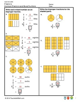 G4S1W13-MW Mixed Numbers to Improper Fractions w/Soln (Singapore Mastery Method)