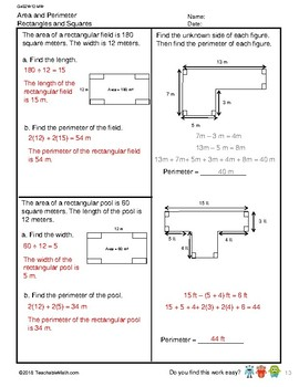 G4S2W12-MW Area and Perimeter (Singapore Mastery Method)