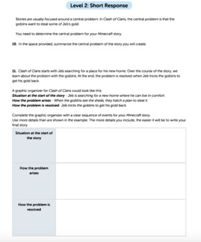 G5 Narrative Reading & Writing - Crafting for Minecraft Performance Task