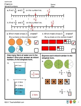 G4S1W12-MW Mixed Numbers with Solutions (Singapore Mastery Method)