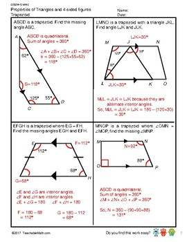 G5S1W12-MW2 Properties of Triangle & 4-Sided Figure w/Solutions (SG Mastery)