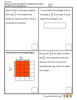 G5S1W13-MW Fractions Multiplying Dividing Fraction Word Problem (SG Mastery)