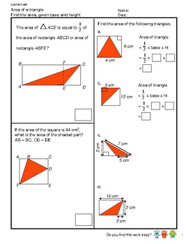 G5S1W15-MW Area of a Triangle (Part 2) (Singapore Mastery Method)