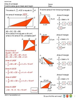 G5S1W15-MW Area of a Triangle w/Solutions - Part 2 (Singapore Mastery Method)