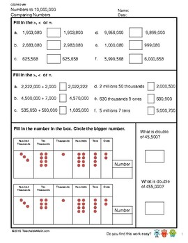G5S1W2-MW Numbers to 10,000,000 Comparing Numbers and Ordering Numbers