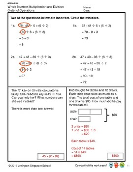 G5S1W5-MW Whole Number Order of Operations (Singapore Mastery Method)