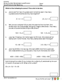 G5S1W6-MW Whole Number Word Problems Bar Modeling (Singapore Mastery Method)
