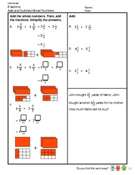 G5S1W9-MW Fractions Add and Subtract Mixed Numbers (Singapore Mastery Method)
