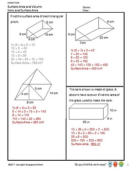 G5S2W15-MW Surface Area and Volume_WithSolutions (Singapore Mastery Method)
