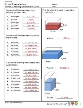 G5S2W16-MW Surface Area and Volume_WithSolutions (Singapore Mastery Method)