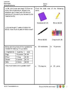 G5S2W6-MW Decimals Word Problems (Singapore Mastery Method)
