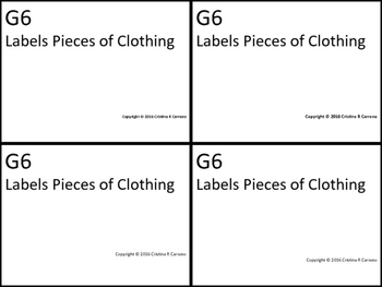 G6 ABLLS- R ALIGNED labels pieces of clothing