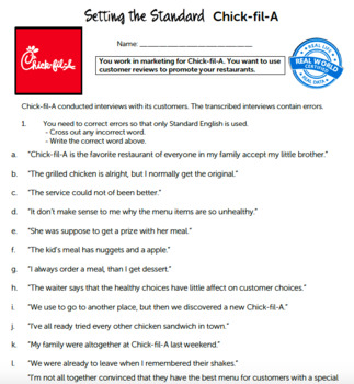 G6 Standard English - Setting the Standard Essential: Chick fil-A