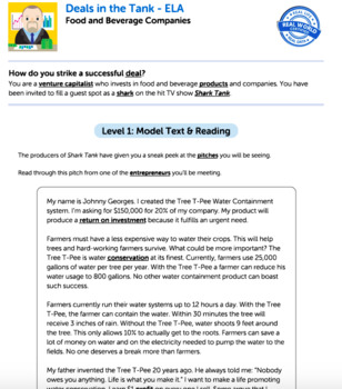 Bundle G7 Argument Reading & Writing - Deals in the Tank Performance Task