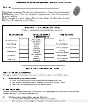 G9-10 Parallel Structure with 'The Gettysburg Address' - Crime Scene Decoder