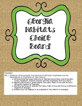GA Habitat Choice Board