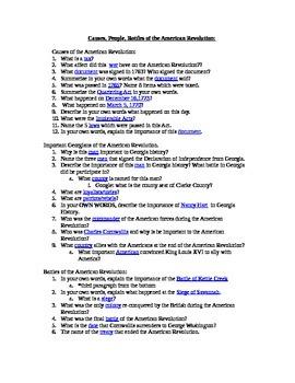 GA History-American Revolution Webquest