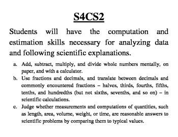 GA 4th Grade Standards: Science