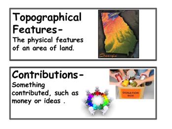 GA Second Grade Social Studies Vocabulary Cards