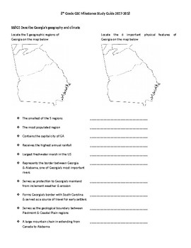 GA Studies Milestones Review Packet (GSE)