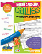 North Carolina Dailies: 180 Daily Activities for Kids