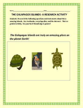 GALAPAGOS ISLANDS RESEARCH ACTIVITY