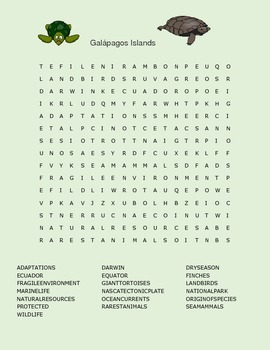 GALAPAGOS ISLANDS WORD SEARCH 6-12