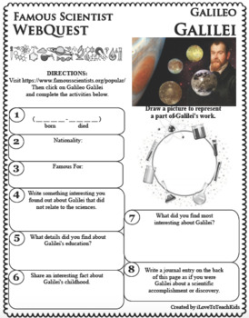 GALILEO GALILEI Science WebQuest Scientist Research Project Biography Notes