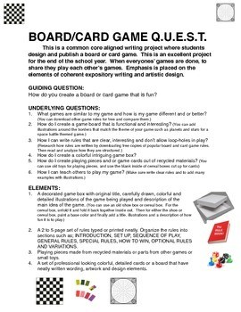 GAME CREATION PROJECT Q.U.E.S.T. COMMON CORE ALIGNED