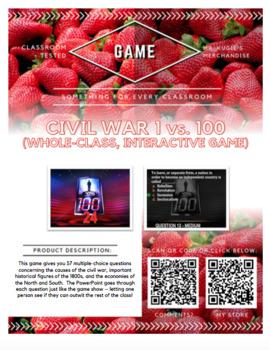 GAME - Civil War 1 vs. 100 (Social Studies)