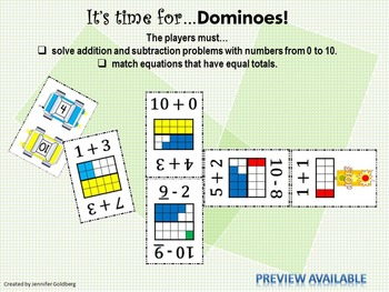 GAME: DOMINOES, Addition/Subtraction, 0-10, 1st Grade CCS