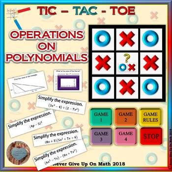 GAME: TIC TAC TOE Operations on Polynomials