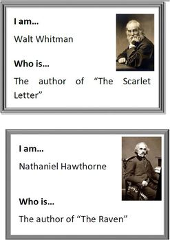 GAME: Who Am I? CHAIN CARDS & Key abolitionists,authors,ar