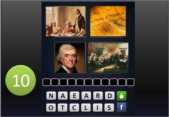 """GAME:""""4 PICTURES &A WORD"""" RevWar,Explore,Colonize,Declaration,Constitution,Civil"""