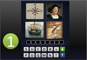 "GAME:""4 PICTURES &A WORD"" RevWar,Explore,Colonize,Declarat"
