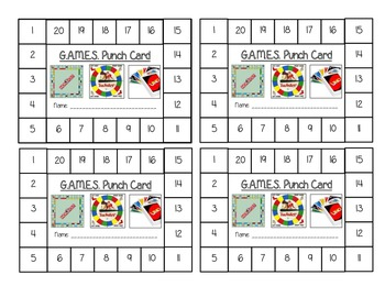 GAMES Punch Cards!