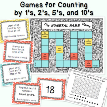 GAMES for Counting Numerals 1-120 by 1's, 2's, 5's, and 10's!